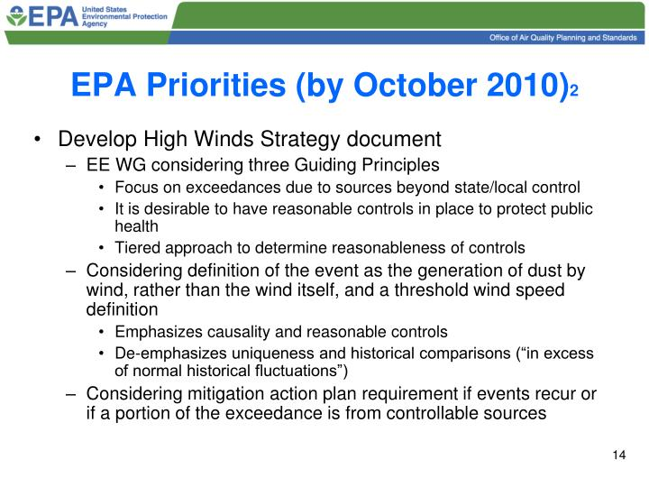 EPA Priorities (by October 2010)
