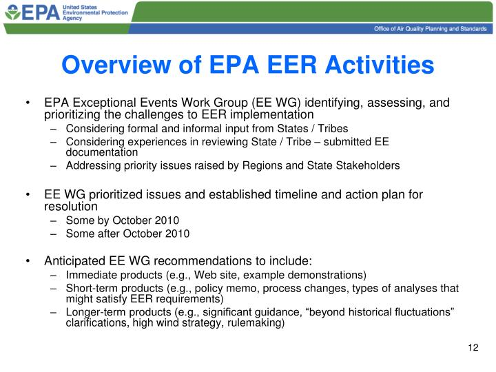 Overview of EPA EER Activities