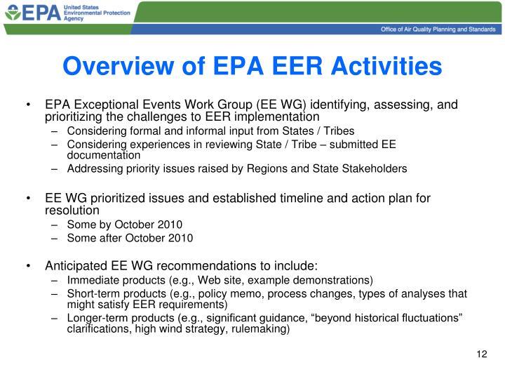 Overview of EPA EER Activities