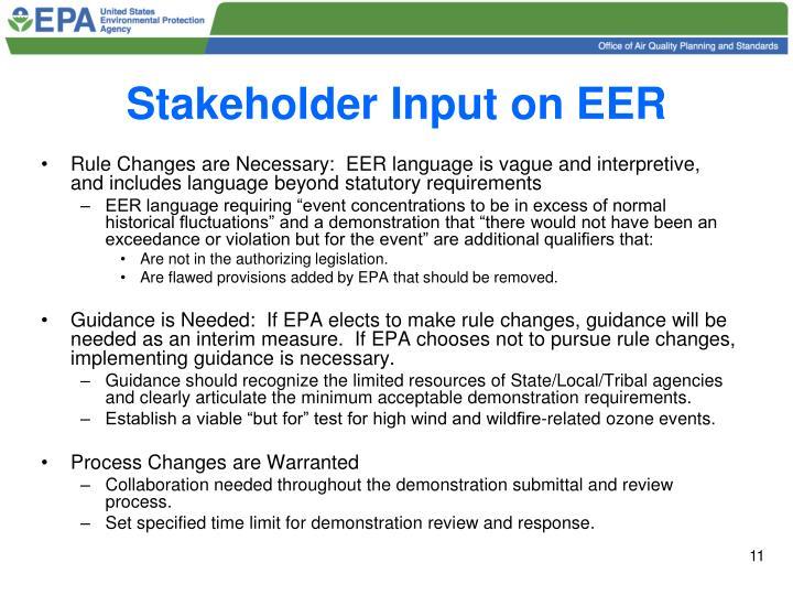 Stakeholder Input on EER