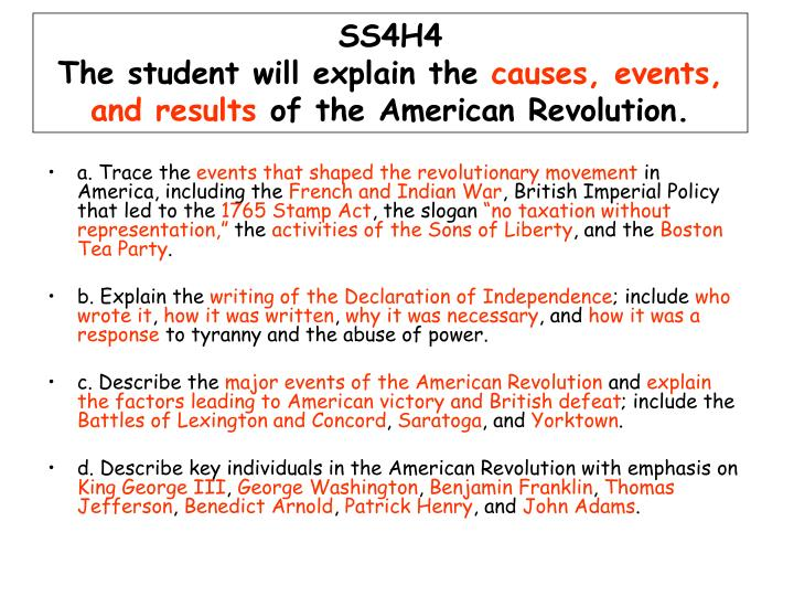 main cause of the american revolution Improve your social studies knowledge with free questions in causes of the  american revolution: the french and indian war and thousands of other social.