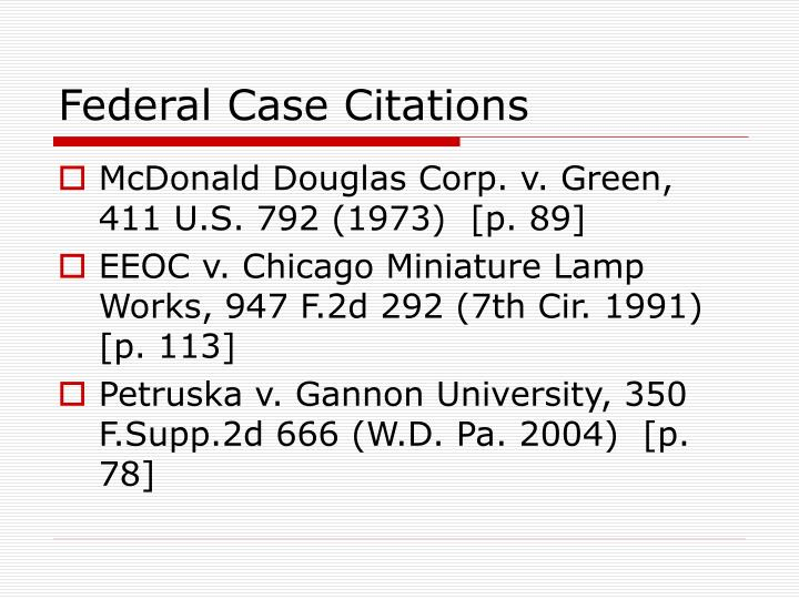 Federal Case Citations