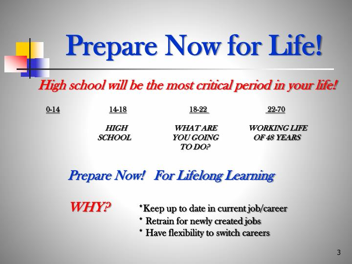 Prepare now for life