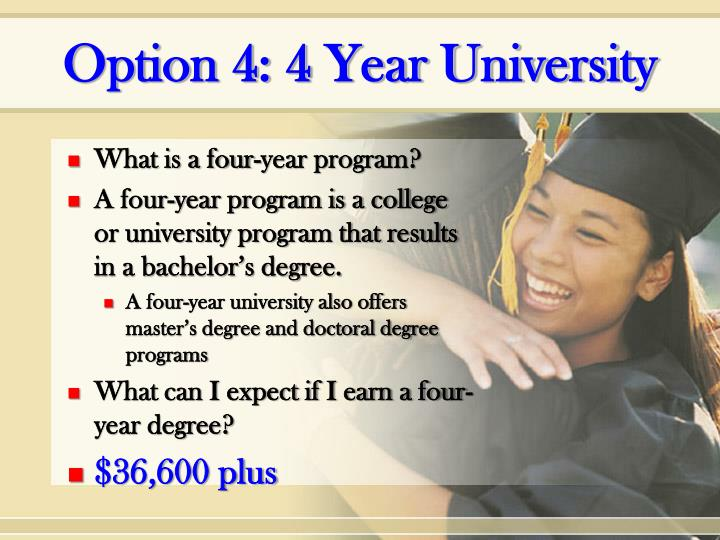 Option 4: 4 Year University