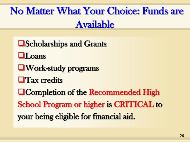 No Matter What Your Choice: Funds are Available