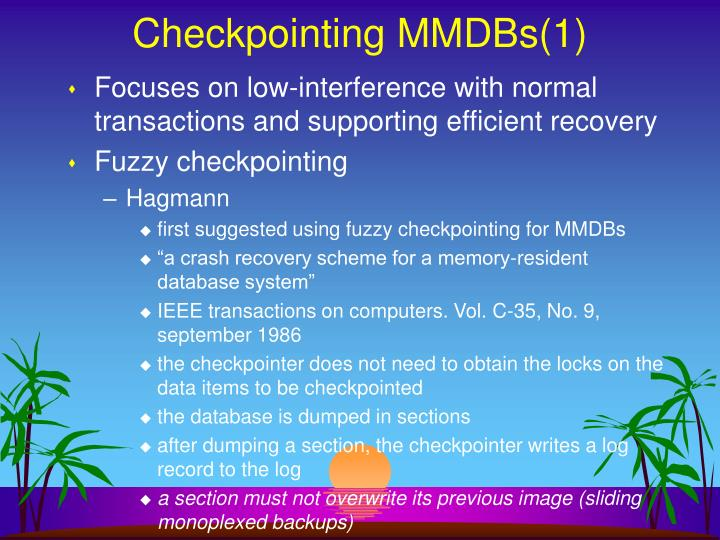 Checkpointing MMDBs(1)