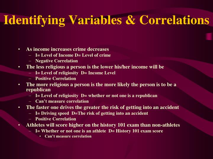 Identifying Variables & Correlations