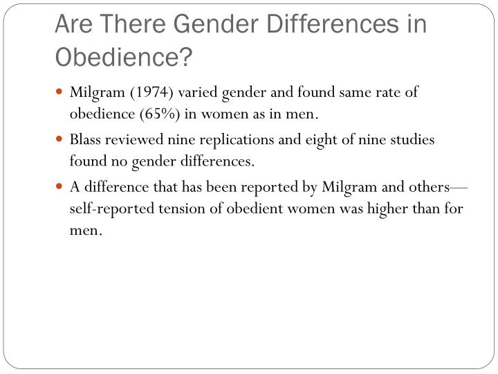 Are There Gender Differences in Obedience?