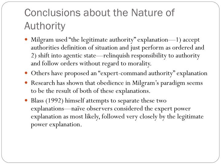 Conclusions about the Nature of Authority
