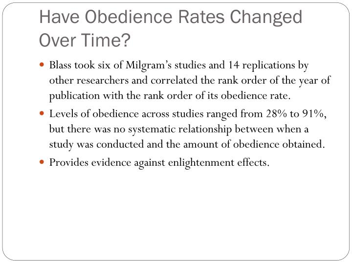 Have Obedience Rates Changed Over Time?