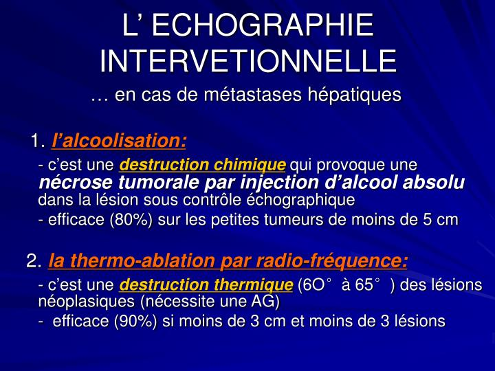 L' ECHOGRAPHIE  INTERVETIONNELLE