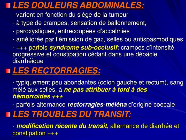 LES DOULEURS ABDOMINALES: