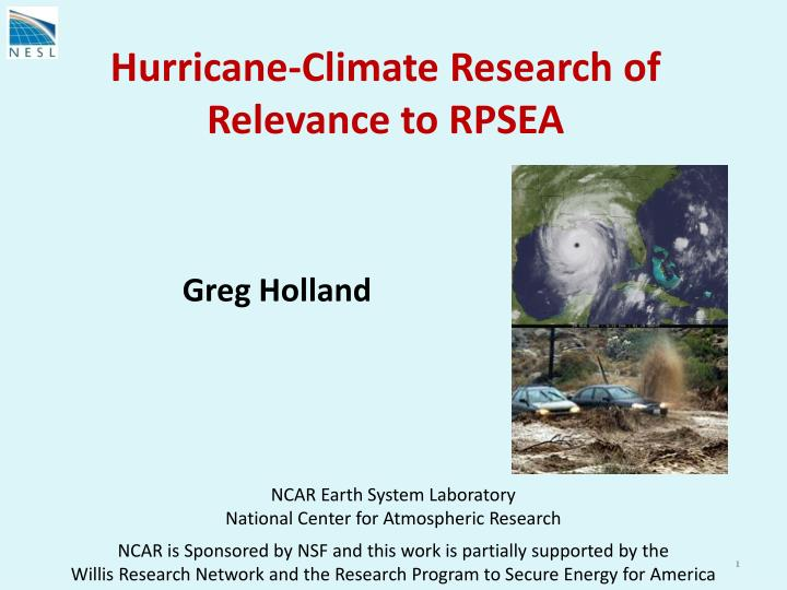 Hurricane climate research of relevance to rpsea