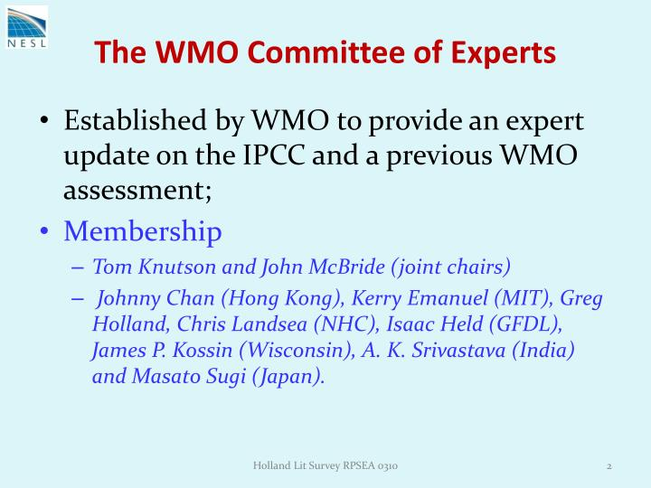 The wmo committee of experts
