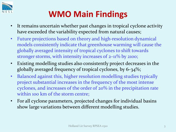 Wmo main findings