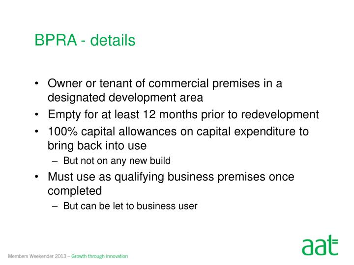 BPRA - details