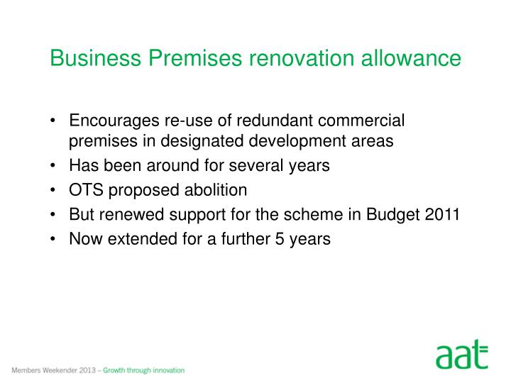 Business Premises renovation allowance