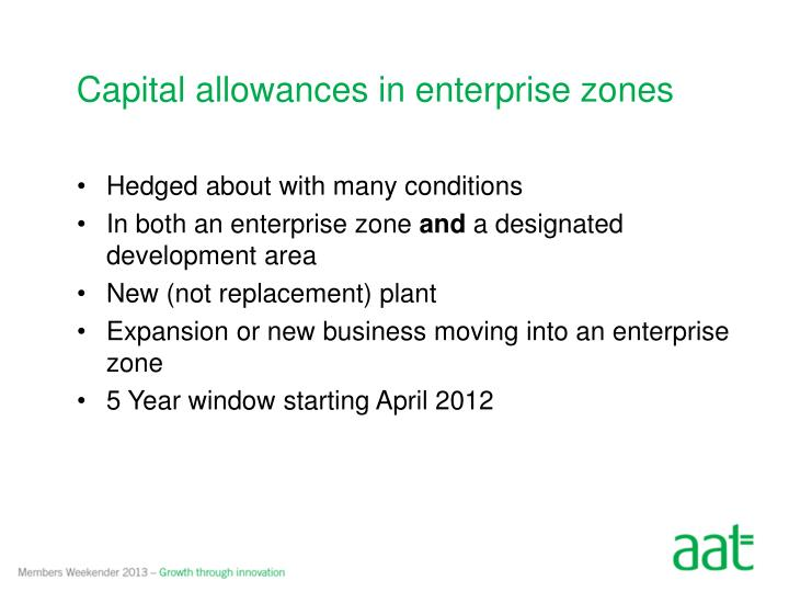 Capital allowances in enterprise
