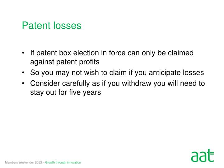 Patent losses