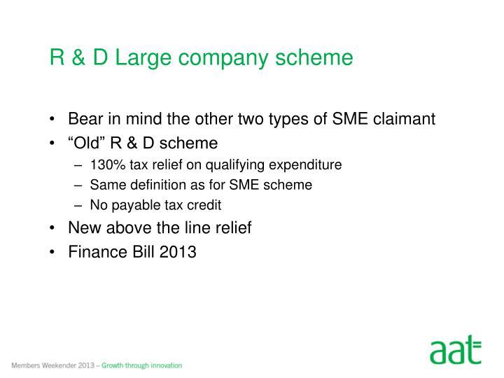 R & D Large company scheme