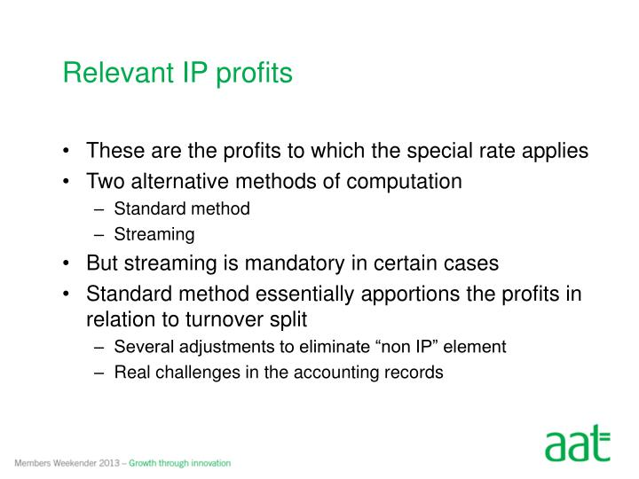 Relevant IP profits