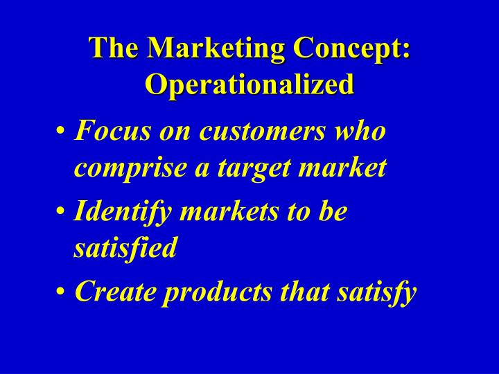 The Marketing Concept: Operationalized