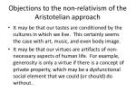 objections to the non relativism of the aristotelian approach