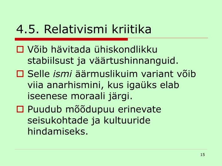 4.5. Relativismi kriitika