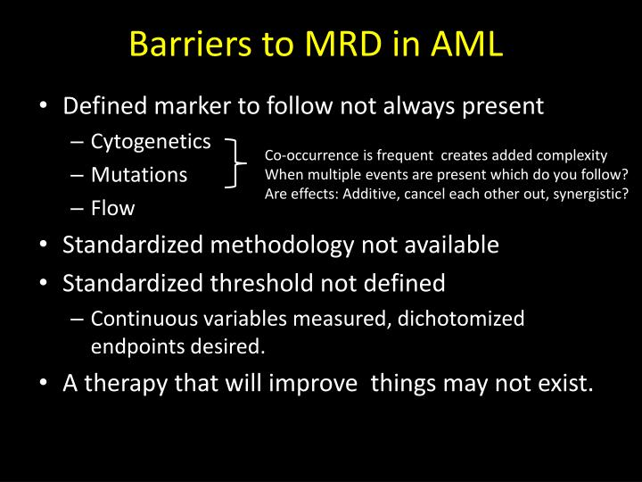 Barriers to MRD in AML