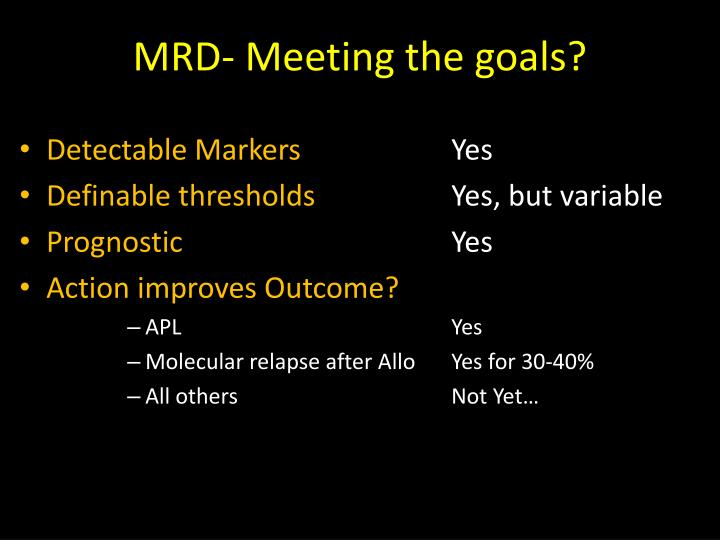 MRD- Meeting the goals?