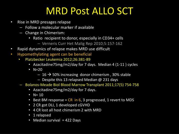 MRD Post ALLO SCT