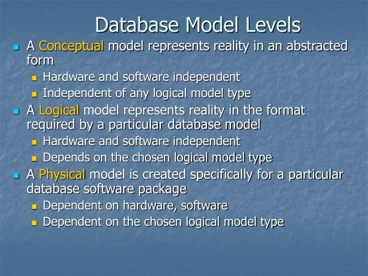 Database Model Levels