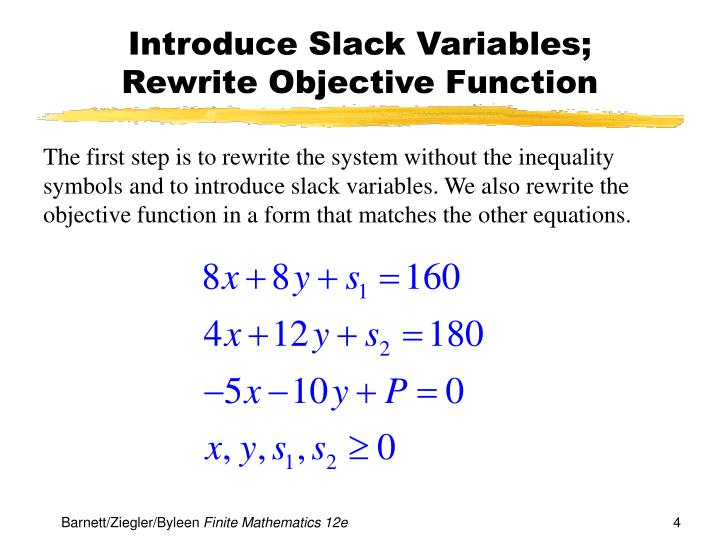 Introduce Slack Variables;