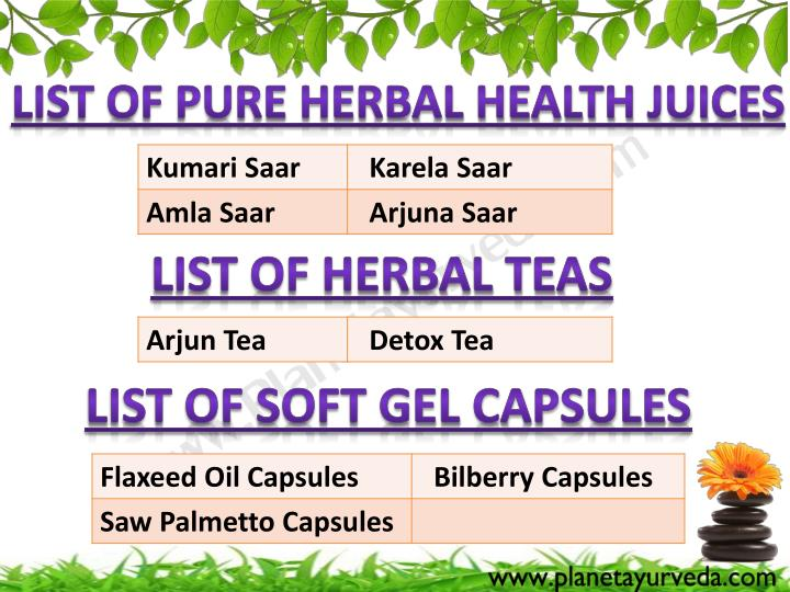 List of Pure Herbal Health Juices