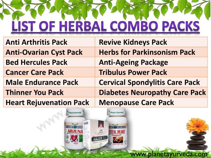 List of Herbal Combo Packs
