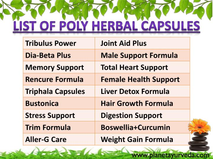 List of Poly Herbal Capsules