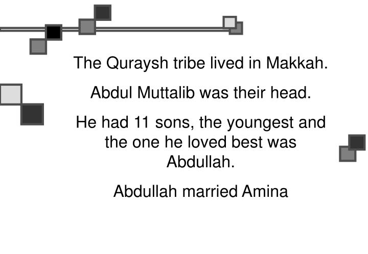 The Quraysh tribe lived in Makkah.