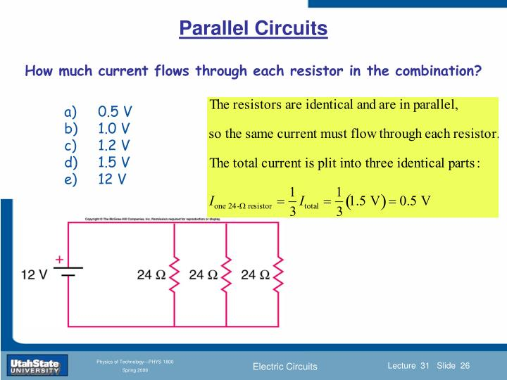 How much current flows through each resistor in the