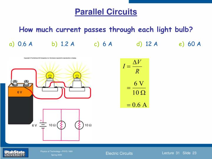 How much current passes through each light bulb?