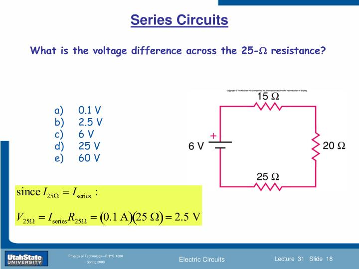 What is the voltage difference across the 25-