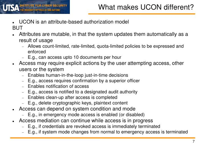 What makes UCON different?