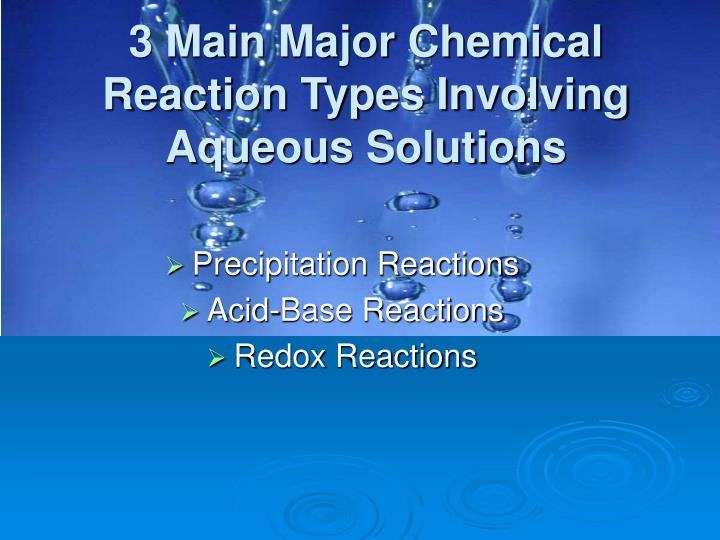 3 Main Major Chemical Reaction Types Involving Aqueous Solutions