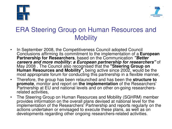 ERA Steering Group on Human Resources and Mobility