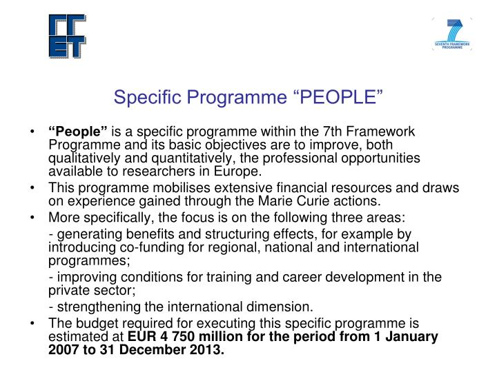 "Specific Programme ""PEOPLE"""
