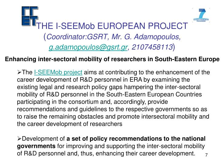 THE I-SEEMob EUROPEAN PROJECT