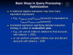 basic steps in query processing optimization