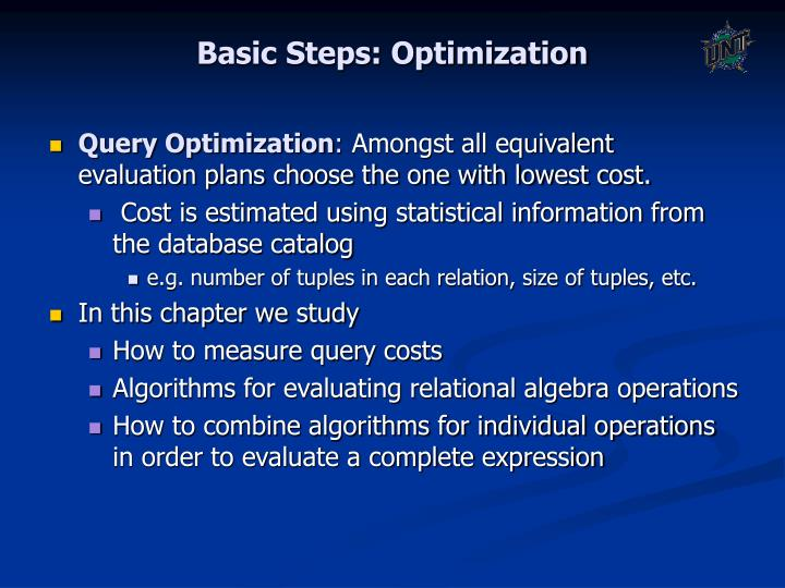 Basic Steps: Optimization
