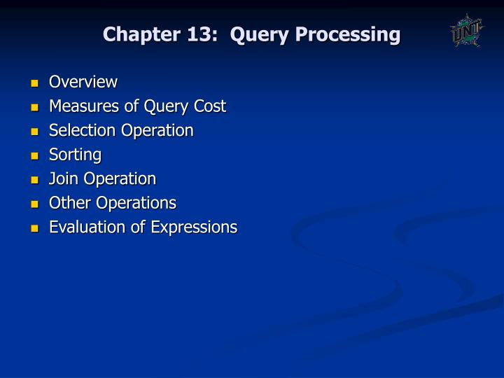 Chapter 13 query processing