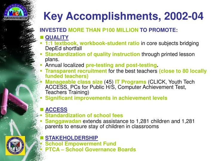 Key Accomplishments, 2002-04