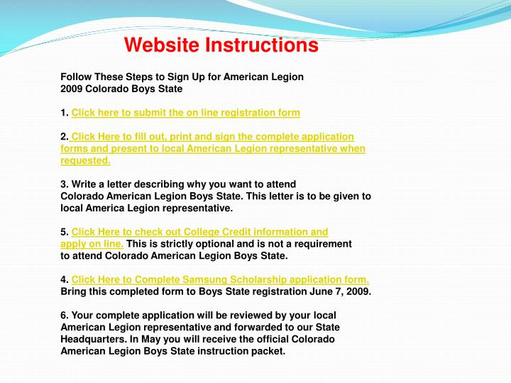 Website Instructions